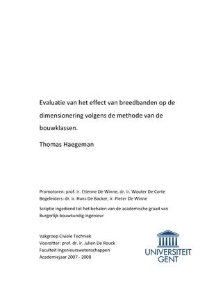 evaluatie van het effect van breedbanden op de dimensioneringevaluatie van het effect van breedbanden op de dimensionering volgens de methode van de bouwklassen thomas haegeman