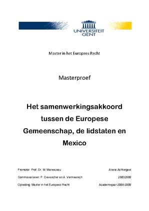 Het Samenwerkingsakkoord Tussen De Europese Gemeenschap De