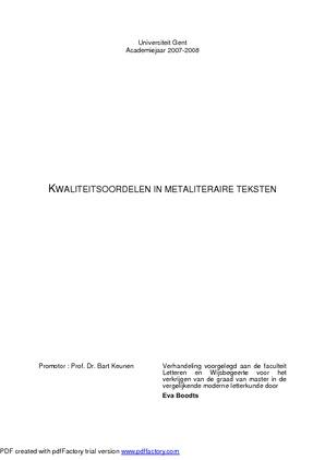 Kwaliteitsoordelen In Metaliteraire Teksten