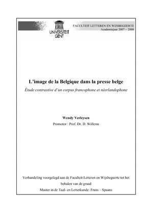 Limage De La Belgique Dans La Presse Belge