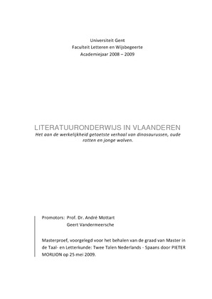 Literatuuronderwijs in Vlaanderen: Het aan de werkelijkheid