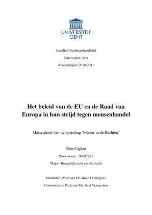 Het Beleid Van De Eu En De Raad Van Europa In Hun Strijd Tegen