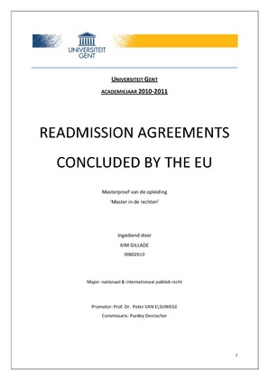 Readmission Agreements Concluded By The Eu