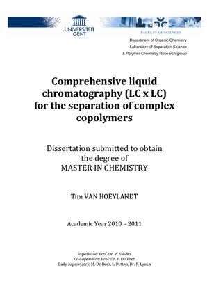 Comprehensive liquid chromatography (LC x LC) for the