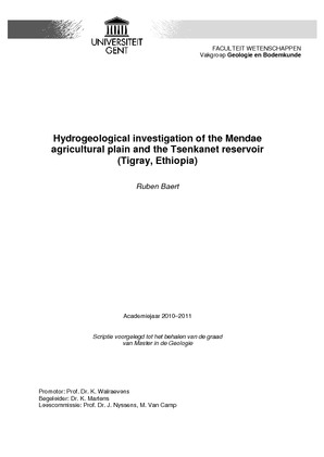 Hydrogeological investigation of the Mendae agricultural