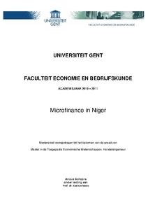 microfinance in niger