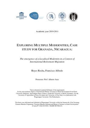 Exploring Multiple Modernities Case Study For Granada