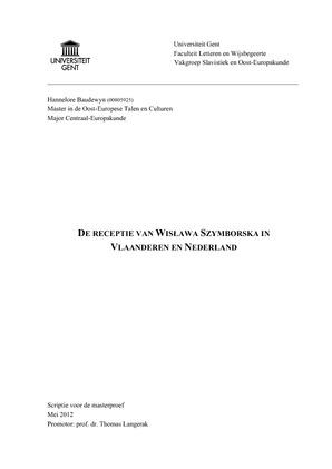 De Receptie Van Wisława Szymborska In Vlaanderen En Nederland
