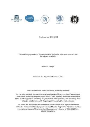Academic year 2011-2012 Institutional preparation of Bosnia