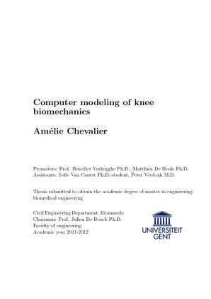 Computer modeling of knee biomechanics Amélie Chevalier