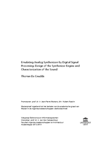 Thomas De Cnudde Characterization of the Sound Processing