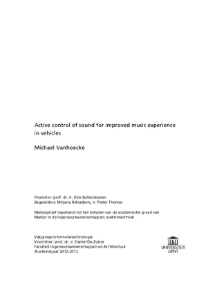 Active control of sound for improved music experience in vehicles coverg fandeluxe Images