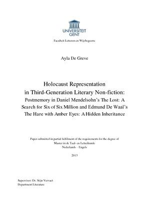 Holocaust Representation in Third-Generation Literary Non-fiction: