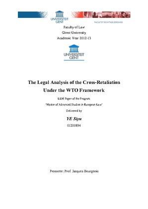The Legal Analysis Of The Cross Retaliation Under The Wto Framework