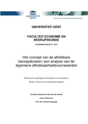 Het concept van de aftrekbare beroepskosten: een analyse van