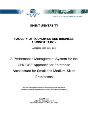 915742a740c706 A Performance Management System for the CHOOSE Approach for Enterprise  Architecture for Small and Medium-Sized Enterprises