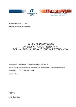 SENSE AND NONSENSE OF SELF-CITATION RESEARCH: TOP 200 PUBLISHING