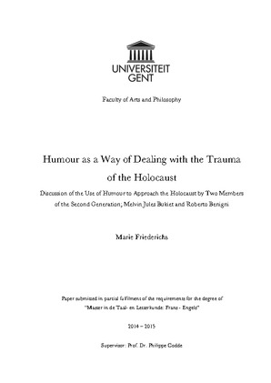 High School Essays Examples  What Is A Thesis Statement For An Essay also Research Proposal Essay Topics Humour As A Way Of Dealing With The Trauma Of The Holocaust Essay Science And Religion