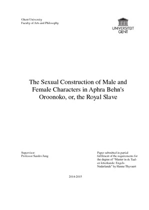 The Sexual Construction Of Male And Female Characters In Aphra  The Sexual Construction Of Male And Female Characters In Aphra Behns  Oroonoko Or The Royal Slave