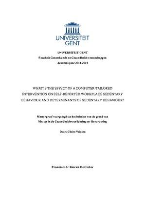 thesis sedentair gedrag