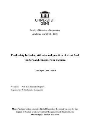 Food safety behavior, attitudes and practices of street food vendors