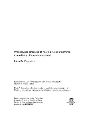 Björn De Vogelaere evaluation of the probe placement