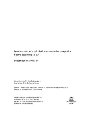Sebastiaan Marynissen beams according to EC4 Development of