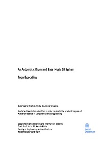 Toon Boeckling An Automatic Drum and Bass Music DJ System