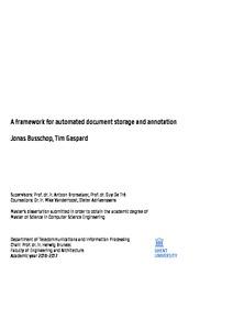 Jonas Busschop, Tim Gaspard A framework for automated