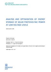 ANALYSIS AND OPTIMIZATION OF ENERGY STORAGE OF SOLAR