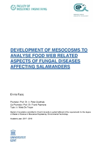 DEVELOPMENT OF MESOCOSMS TO ANALYSE FOOD WEB